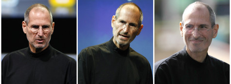 FILE - Three file photos, from left, Jan. 2010, July 2010 and Oct. 2010, show Apple CEO Steve Jobs. Apple announced Monday Jan. 17, 2011, that Jobs is taking a medical leave of absence for the second time in two years. (AP Photo/Paul Sakuma/file)