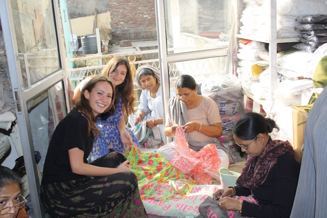 Picture of Lavinia and Natasha working with women at an aftercare home in Delhi 2009
