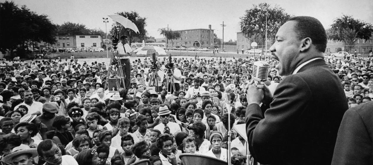 Dr. Martin Luther King, Jr. addresses a crowd. August 4, 1965. Washington Post staff photo by Ellsworth Davis.