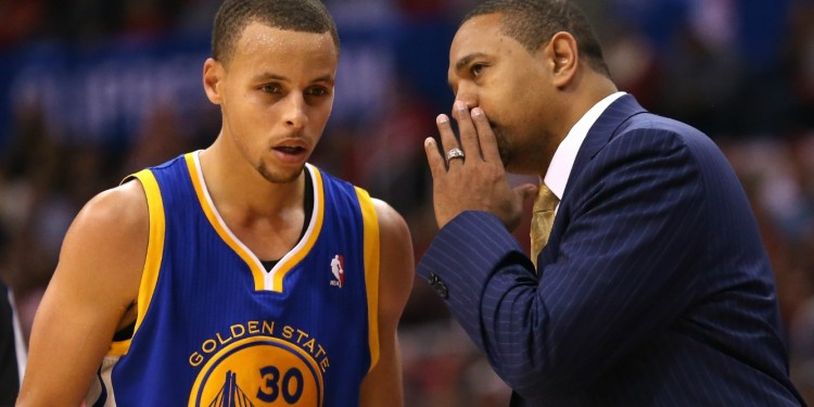 Image source - www.sportingnews.com / NBA player Stephen Curry with manager Mark Jackson.