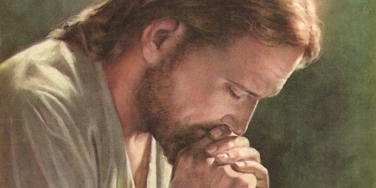 Illustration of Jesus praying, Source - scpeanutgallery.com