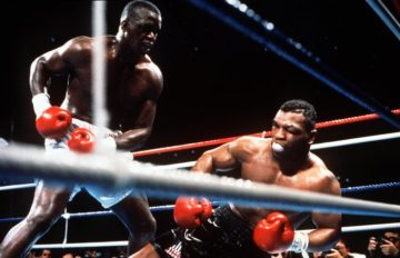 Picture of Mike Tyson knocked down by Buster Douglas